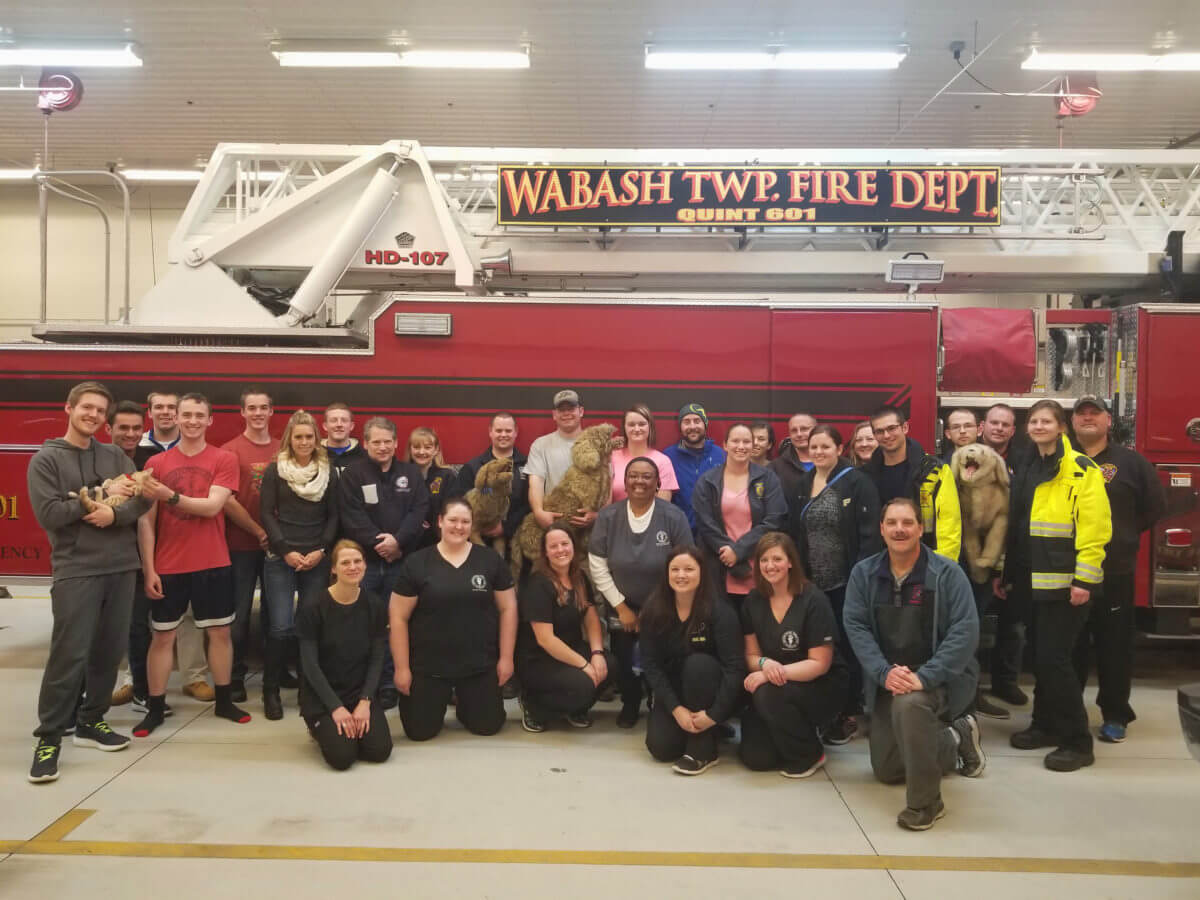Veterinary Teaching Hospital Animal Emergency Service team with Wabash Township Fire Department on CPR for canine and feline pets