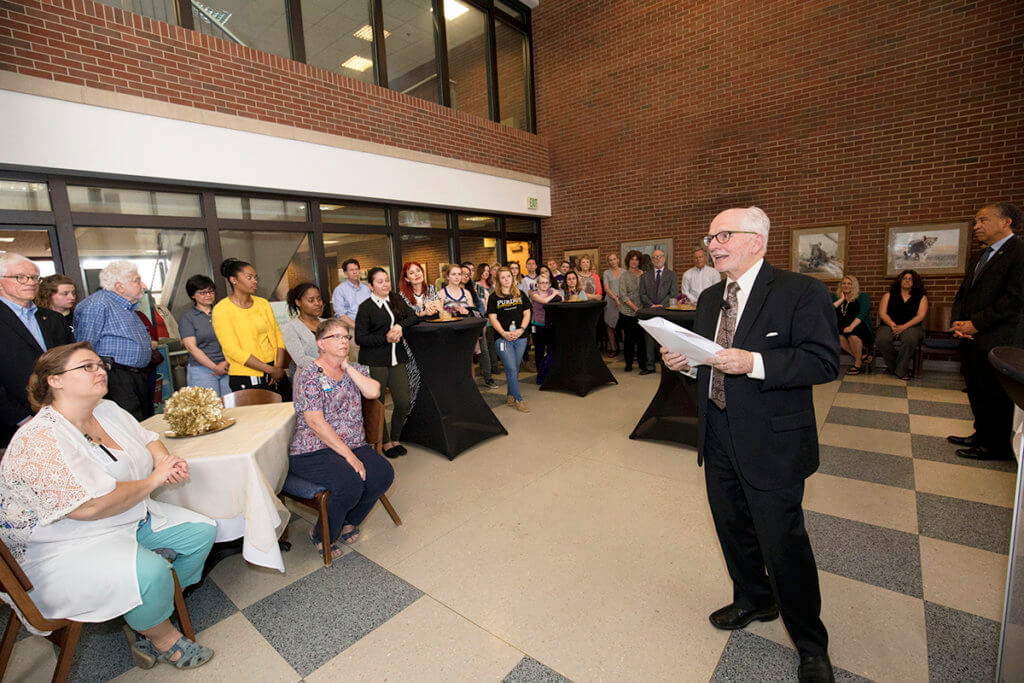 Dr. Hullinger pictured at retirement reception