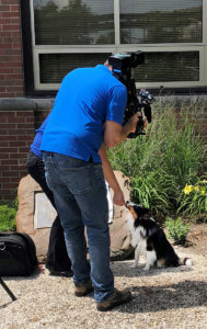 Noah the dog pictured with WLFI-TV crew