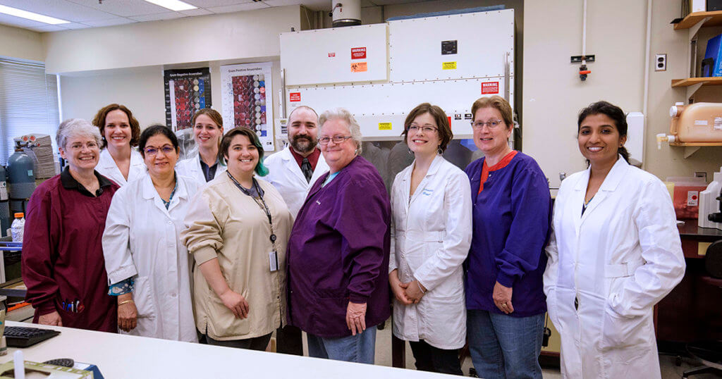 ADDL bacteriology, mycology, and parasitology team pictured