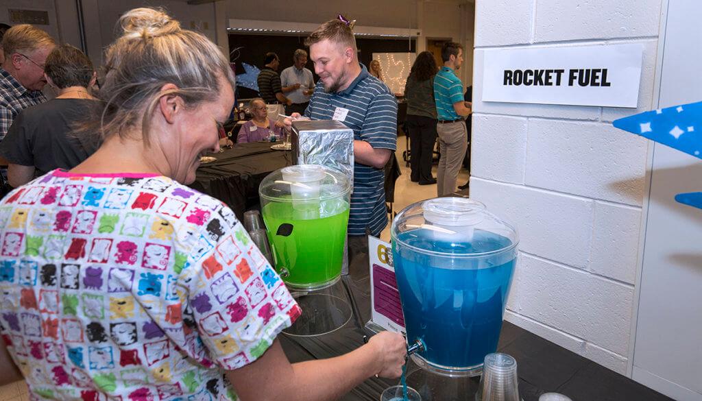 Rocket Fuel beverage station pictured