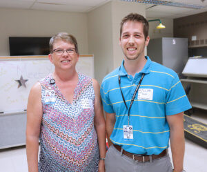 Lisa Wright and Zach Wise pictured at cornhole tournament