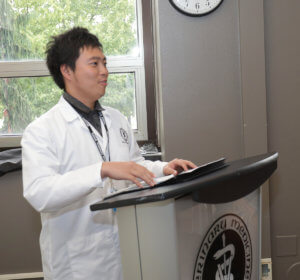 Kitasato veterinary student pictured at farewell reception