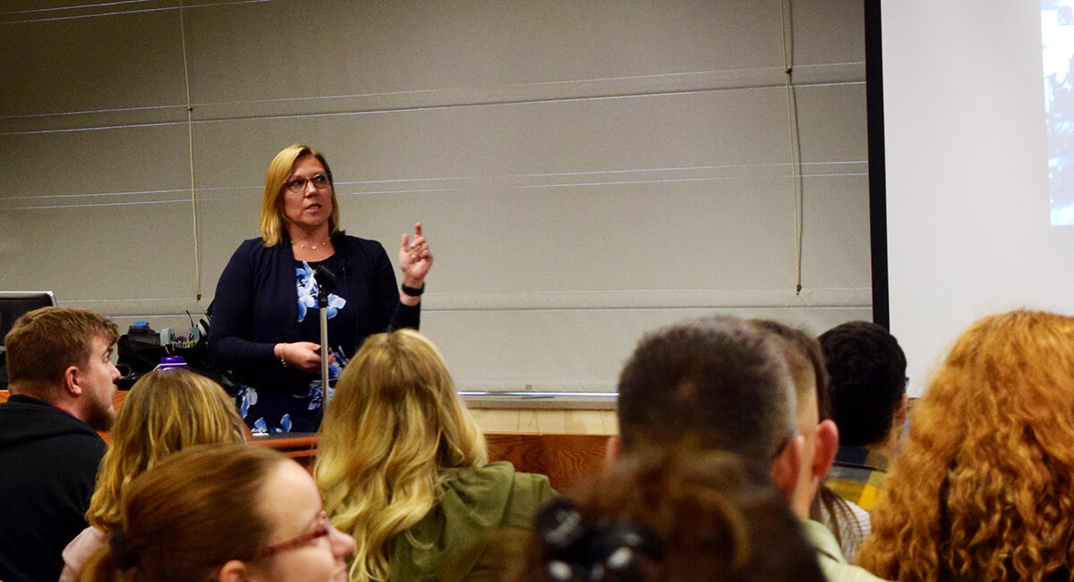 Purdue Veterinary Medicine Assistant Professor of One Health Epidemiology Audrey Ruple speaks at the fifth annual Purdue University Dawn or Doom conference, as the first Purdue Veterinary Medicine faculty member to give a presentation as part of the two-day event that focuses on risks and rewards of rapidly emerging technologies.
