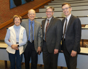 Right-left) PVM Associate Dean for Research Harm HogenEsch with 2018 Coppoc One Health Lecture speaker Jeff Bender and Dr. Gordon Coppoc and his wife Harriet.