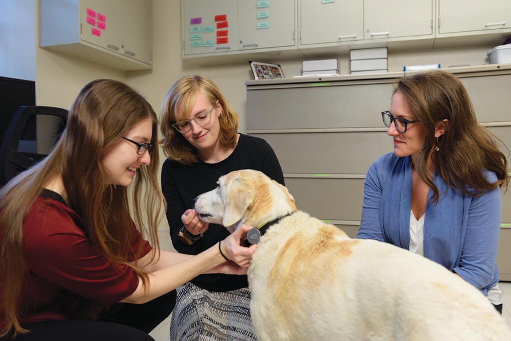 Dr. Maggie O'Haire pictured with OHAIRE lab members and Chloe the dog