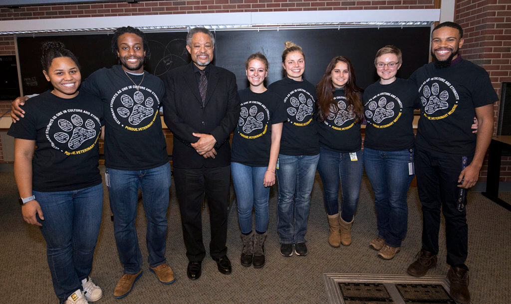 Dr. Iverson Bell, Jr. pictured with Purdue VOICE officers