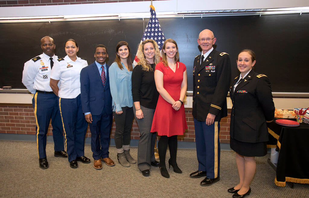 Army medical recruiters pictured with DVM Class of 2022 commissioned Army officers with Drs. Moore and Vickery