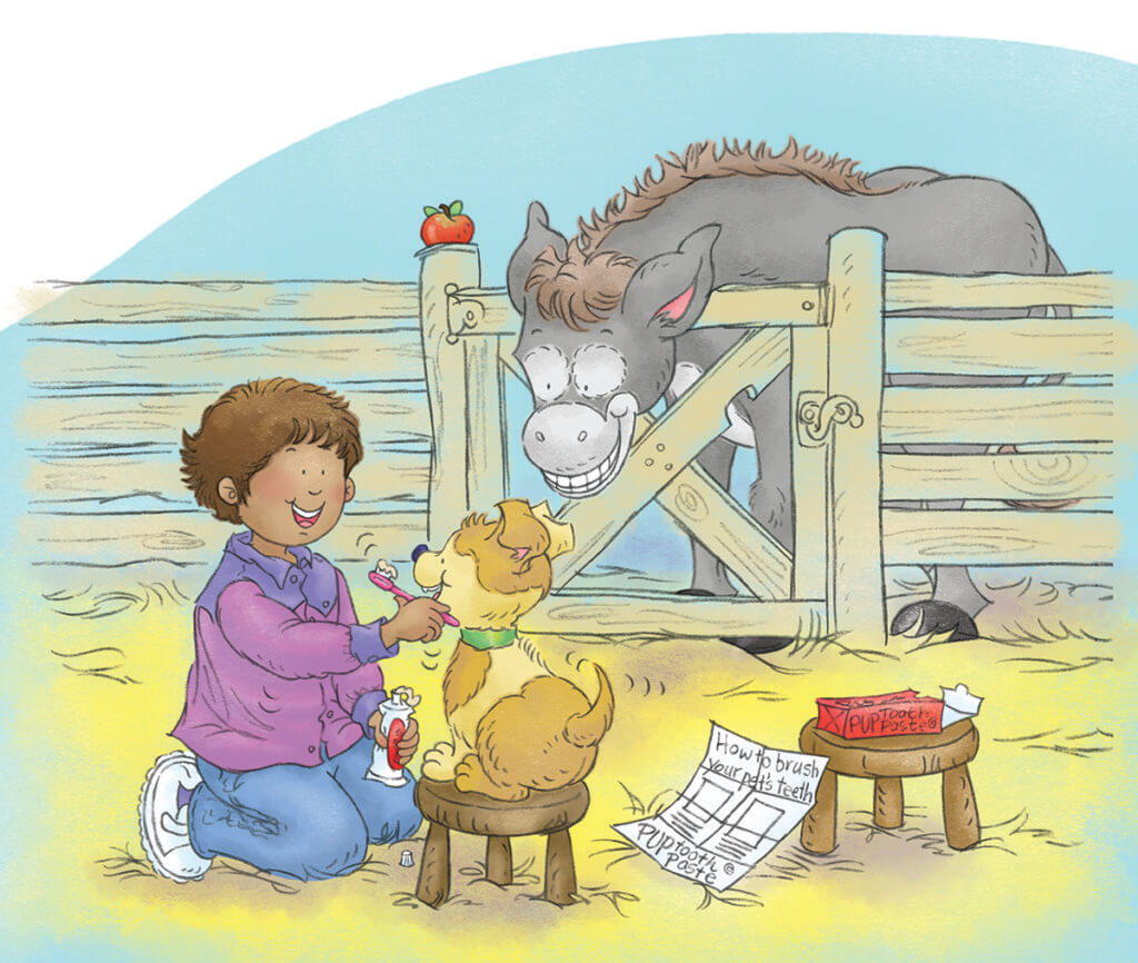 illustration from the Donkeys Need Dentists, Too! book