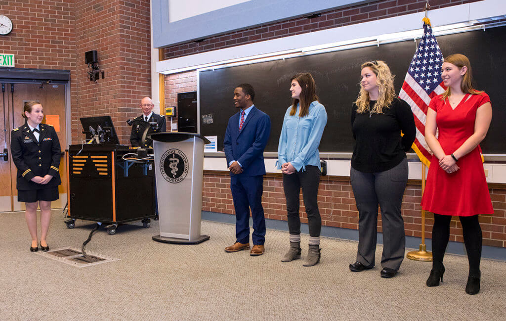 Army Major Whitney Vickery addresses US Army scholarship recipients