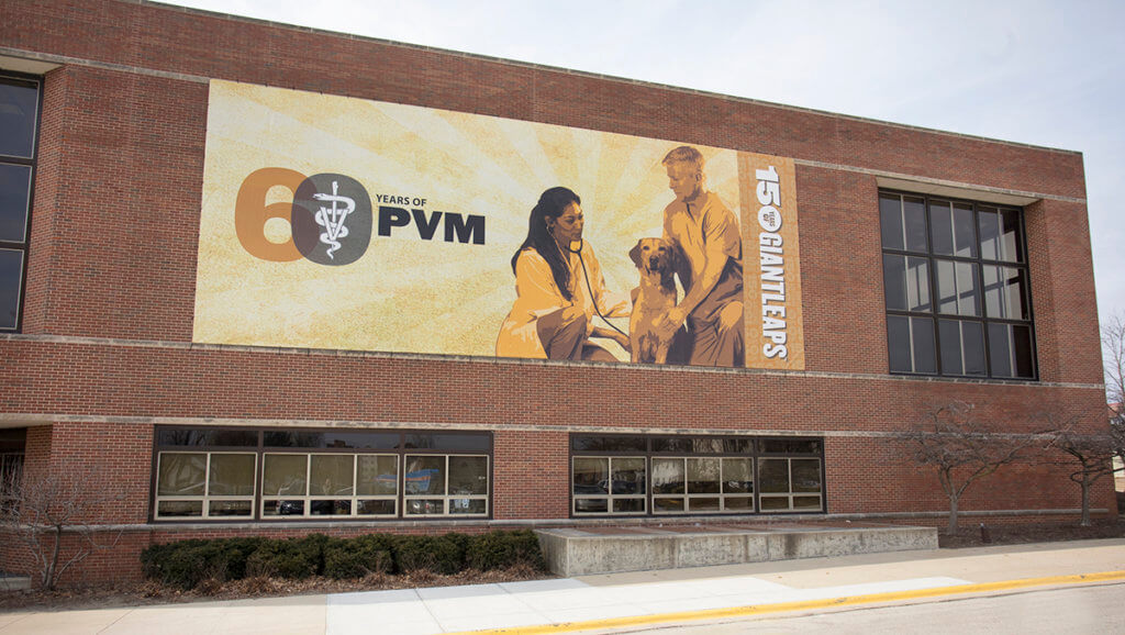 60th anniversary building banner displayed