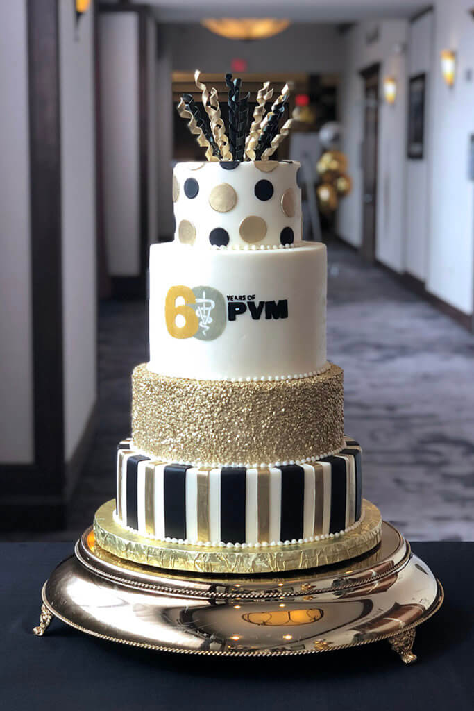PVM 60th tiered cake pictured