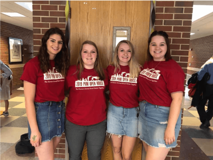 VNSO President Caitlin Obren (2nd from right) enjoyed being involved in the 2019 PVM Open House with her fellow veterinary nursing students.