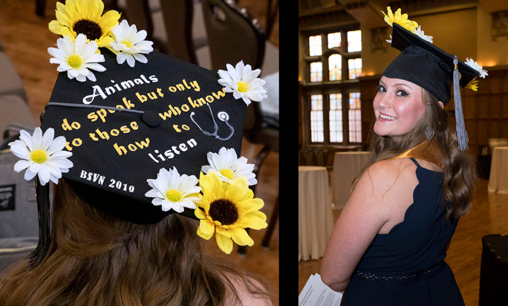 Alisa looks back shown with a close up of her flower decorated graduation cap