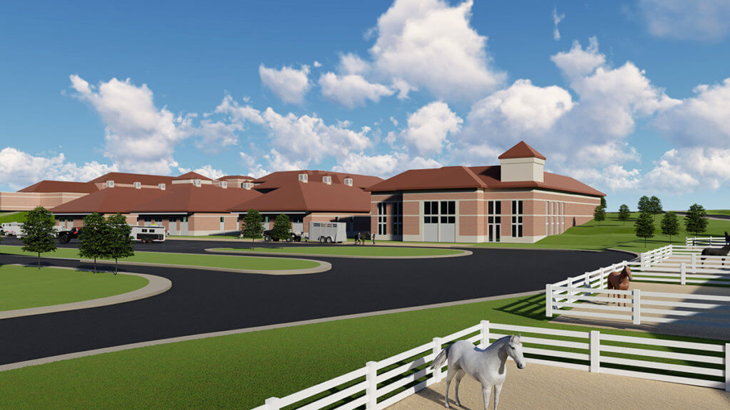 Conceptual view of new equine hospital with horse corrals