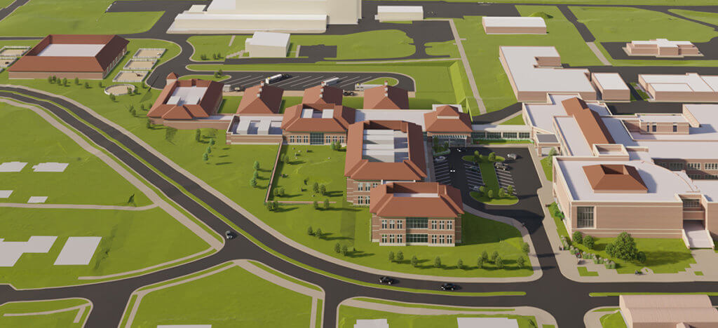conceptual drawing of the new hospital site from a bird's eye view