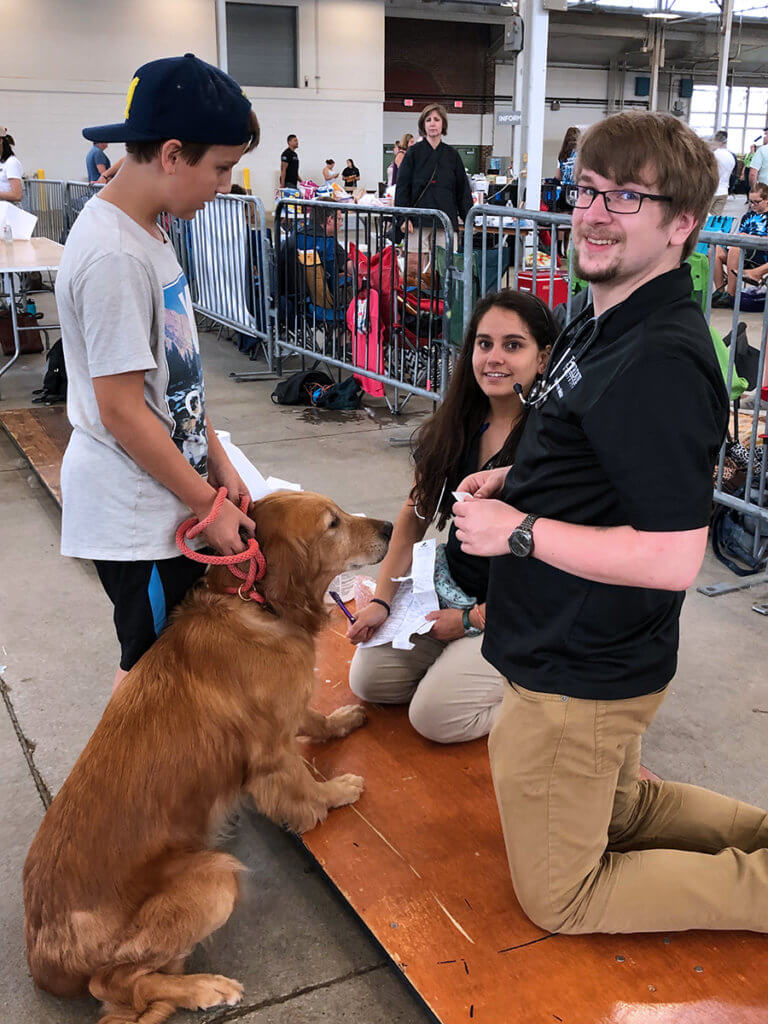 A boy holds his dog's leash as two veterinary students kneel down to examine the dog