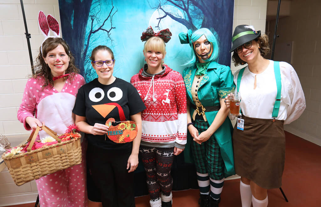 Diagnostic imaging team members dress up in Easter, Thanksgiving, Christmas, St. Patrick's, and Oktoberfest costumes