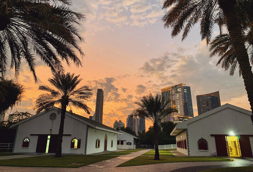 Equine hospital pictured with the Dubai skyline in the background at sunrise