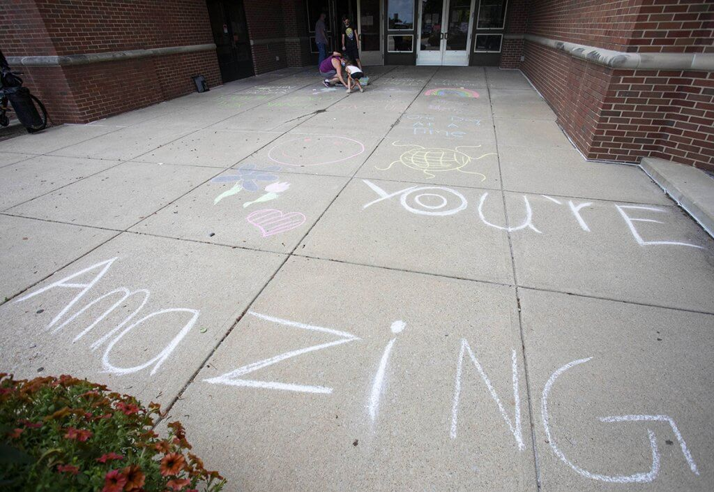 encouraging chalk messages pictured