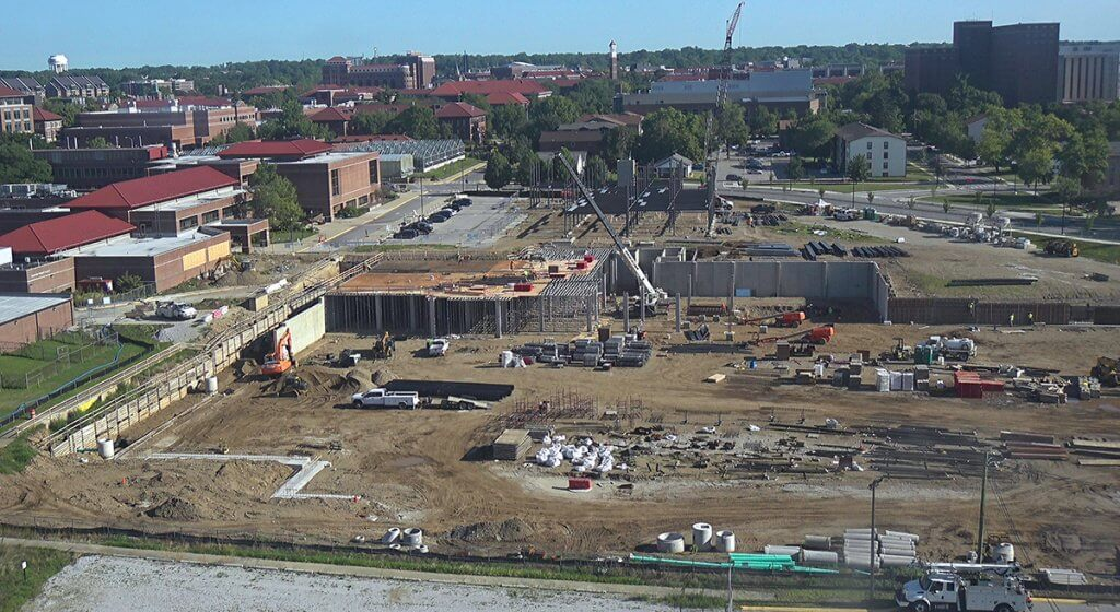 Aerial view of Equine Hospital construction site