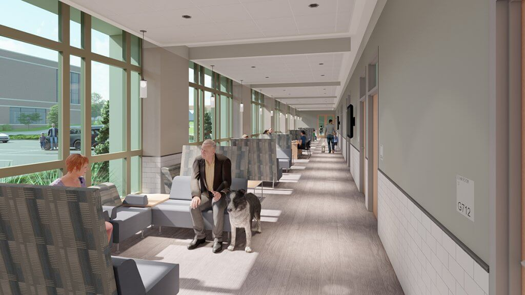 rendering of a seating area down a long hallway