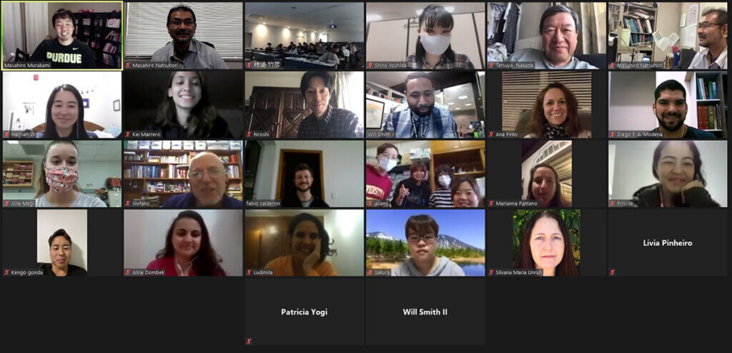 A screen shot of Zoom participants from all over the world are shown