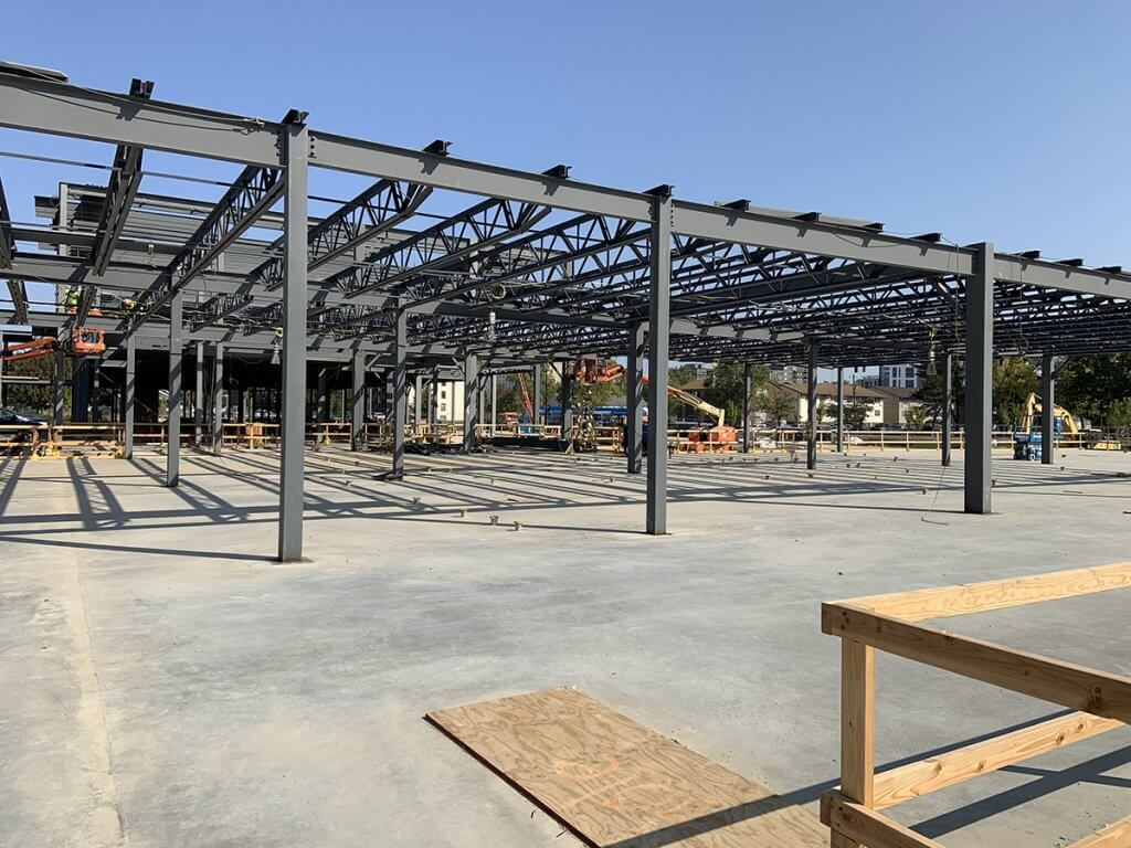 steel beam framework is shown on the second floor of the new Small Animal Hospital