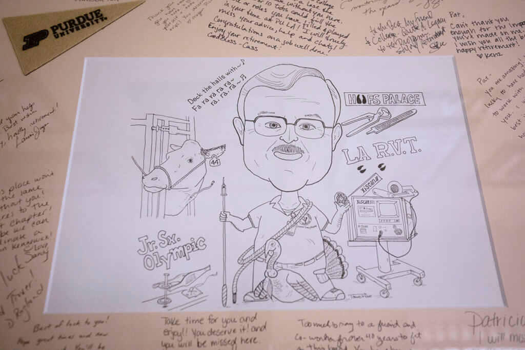 A close-up of the caricature of Pat created by Dr. Tomohito Inoue