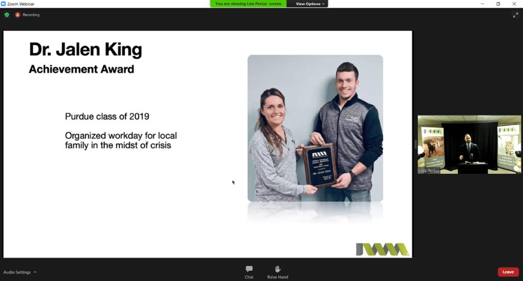 screen shot of virtual awards presentation