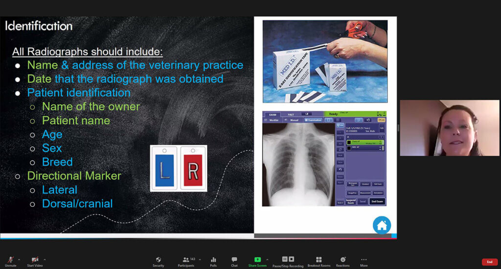 A screen shot of Liane presenting with the current slide focusing on radiographs
