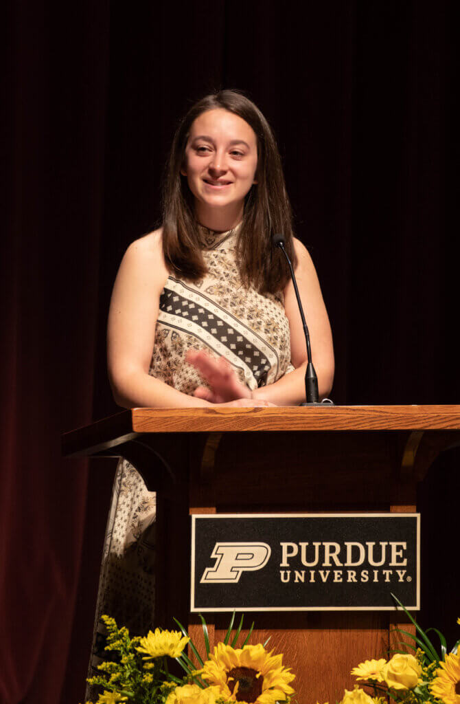 Sarah Stram of the fourth-year class addresses the third-year students.