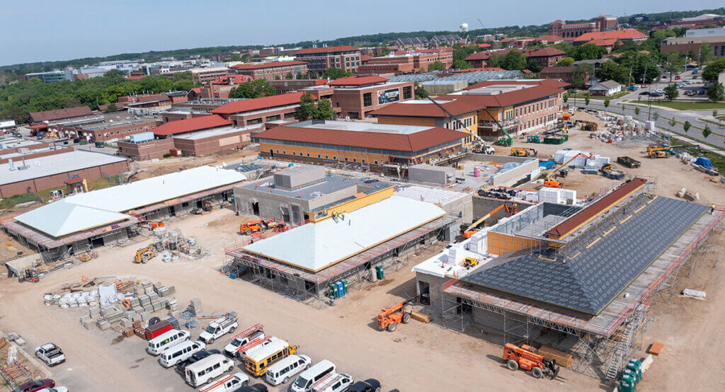 birds eye view of the new Equine Hospital with the new Small Animal Hospital, Lynn Hall and the southside of campus in the background