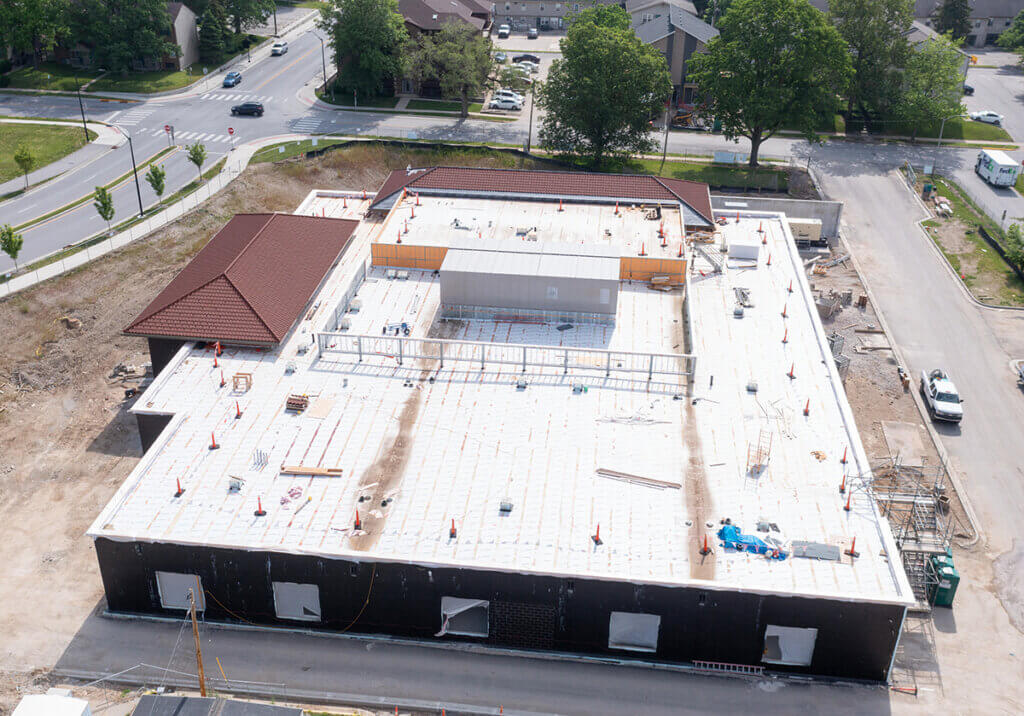 A birds eye view of the Farm Animal Hospital under construction looking toward Grant and Williams Street