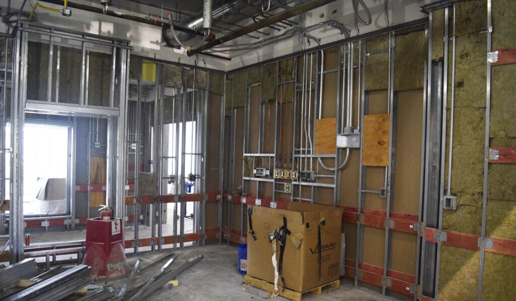 Pipes for the gas lines are shown in the newly constructed walls in the Small Animal Hospital