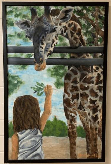 painting of a girl feeding a giraffe