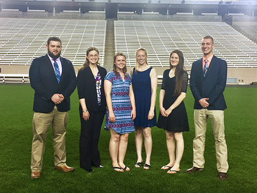 Members of the successful Purdue Bovine Palpation Team (left-right): Alex Hegg, Sarah Garst, Laura May and Maggie Kelly, all of the DVM Class of 2019 and Katherine Kelsey and Trey Gellert of the DVM Class of 2020.