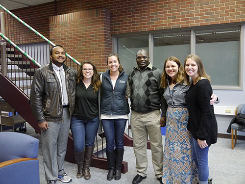William Willis, of the DVM Class of 2020; Taylor DeWitt, of the DVM Class of 2019; Kimberly Lutz, of the DVM Class of 2018; Taylor Smith, of the DVM Class of 2018; and Brenda Najar, of the DVM Class of 2019, join Dr. Campaign Limo at the IVSA Spring Event on Friday, March 31.
