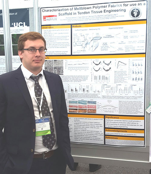 Tommy Jenkins, research assistant in the Little Lab at PVM, with his research poster presented at the Orthopaedic Research Society 2017 Annual Meeting.