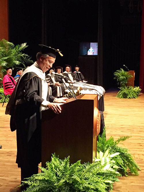 Dean Willie Reed gives the commencement address to the Michigan State University College of Veterinary Medicine'''s Class of 2017 Friday, May 5. Also during the ceremony, Dean Reed received the 2017 MSU Honorary Veterinary Alumnus Award. (Photo courtesy of Michigan State University)