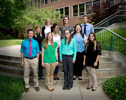 Incoming PVM Class of 2018 Interns: (front row, left -right) Drs. Matthew Hull, Lauren Diangelo, Alexis Powers, and Andrea Miranda-Merly; (middle row, left - right) Drs. Hilary Wright, Maria Saddler, and Elizabeth Young (Wasson Veterinary Pharmacy Resident); (back row, left - right) Drs. Fiona Inglis, Alexandra Gareau, and John Wagner.