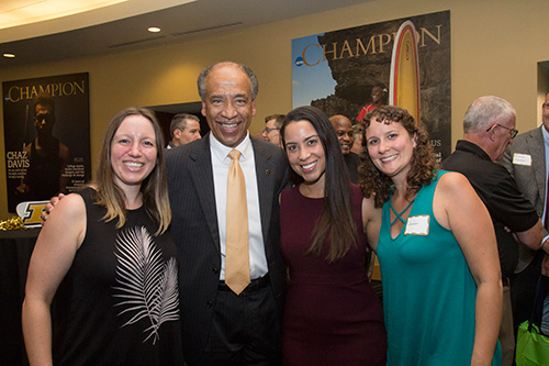 Dean Willie Reed with (left-right) Lara Uriadko, Rachel Cumberbatch and Jennier Direnzo, all of the DVM Class of 2011.