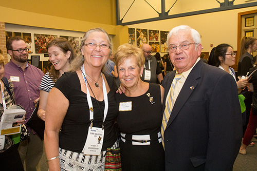 Dr. Bob Jackman (PU DVM '64) and his wife Karen with fellow Purdue Veterinary Medicine graduate Terri Sajdera (PU AS-VT '85). Dr. Jackman was helping at the booth for the Centaur Equine Specialty Hospital, which was one of several College exhibits at the Purdue Alumni Reception.