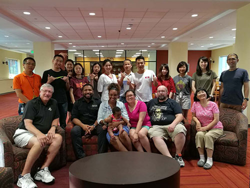 PVM family and friends hosted a dinner for the international delegation of students from China and Japan at Hawkins Hall during their two-week visit to the College.