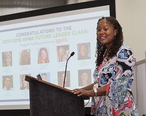 Dr. Tiffany Lyle, PVM assistant professor of veterinary anatomic pathology, speaks during a press conference July 22 at the AVMA Convention in Indianapolis where the AVMA 2017-18 Future Leaders class was announced. (Photo courtesy of AVMA / Scott Nolen)
