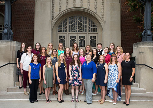 Members of the Purdue Veterinary Technology Class of 2020 are joined by Veterinary Technology Program Director Bianca Zenor for a group photo at the 2017 Veterinary Technology Stethoscope Dinner held on Monday, August 21, at the Purdue Memorial Union.
