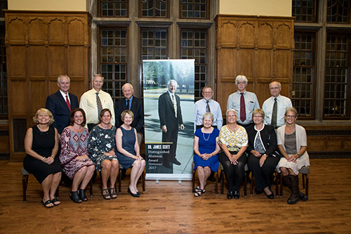 A posthumous Distinguished Alumnus Award was given at the 2017 Awards Celebration in honor of the late Dr. James Scott of the Class of 1968. At the conclusion of the event, family members gathered for a photo with the award banner honoring Dr. Scott.