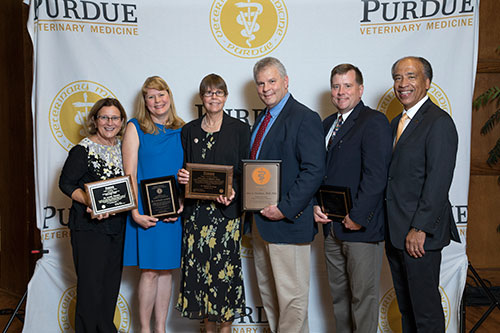 Dean Willie Reed with Purdue Veterinary Medicine faculty award winners (left-right) Dr. Lynetta Freeman, Dr. S. Kathleen Salisbury, Dr. Deborah Knapp, Dr. John Christian and Dr. Jonathan Townsend after the Awards Celebration held in the Purdue Memorial Union North Ballroom Wednesday, September 20.