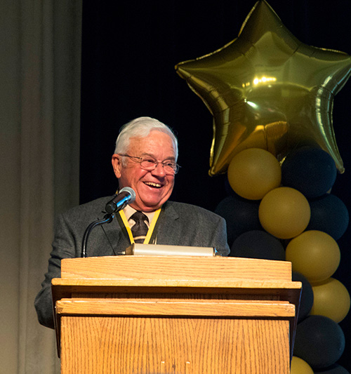 Dr. Bob Jackman, former state senator from Milroy, Ind., shared several funny stories as he spoke on behalf of his class, the Golden Anniversary Class of 1967.