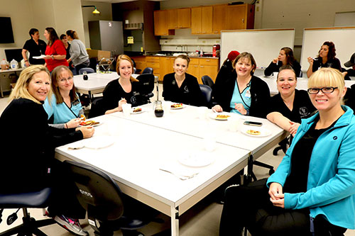 Veterinary Teaching Hospital staff join in the fun at the Veterinary Technician Week Pancake Breakfast (left-right): Donna Tudor, Lara Luke, Cherie Russler, Mindy Cotton, Jennifer Ashley, Jeannine Henry and Christina DeYoung.